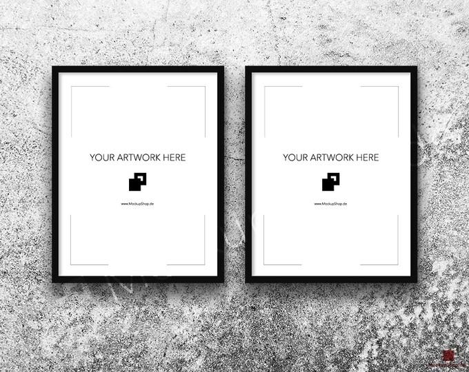 11x14 FRAME MOCKUP BLACK Set of 2 / Poster Mockup, old white stone wall Background, Framed Art, Instant Download / Frame Mockup