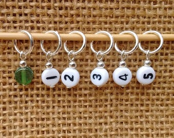 Number stitch markers, set of six