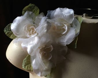 3 Ivory Blush Roses for Bridal, Millinery, Costumes