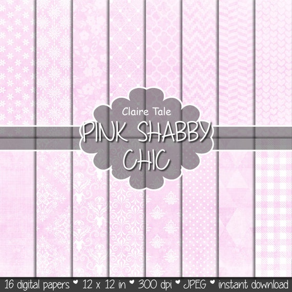 "Pink digital paper: ""PINK SHABBY CHIC"" with pink damask, crosshatch, quatrefoil, flowers, lace, polka dots, triangles, stripes, hearts"