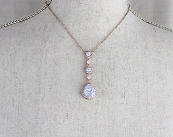 Rose gold necklace, Bridal necklace, Bridal jewelry, Rose gold Wedding jewelry, Rose gold Bridesmaid necklace, Teardrop necklace, Pendant