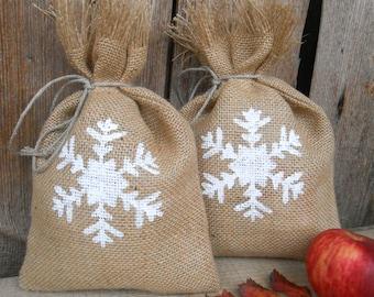 Snowflakes Gift Bag Santa Sack Gift Sack Christmas Sack Christmas Gift Bag Personalized Santa Bag Christmas Gift Sack Christmas Burlap Bag
