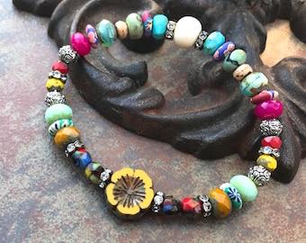 Festival Flower Stretch Bracelet, bohemian bracelet,beachy jewelry, Luxe Jewelry, Neutral Jewels,beaded bracelets,spring 2018