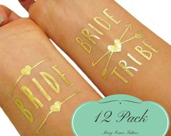 Bachelorette Tattoos, (12 pack) Bride Tribe Party Supplies and Favors, 2 Bride + 10 Bride Tribe Temporary Tattoos