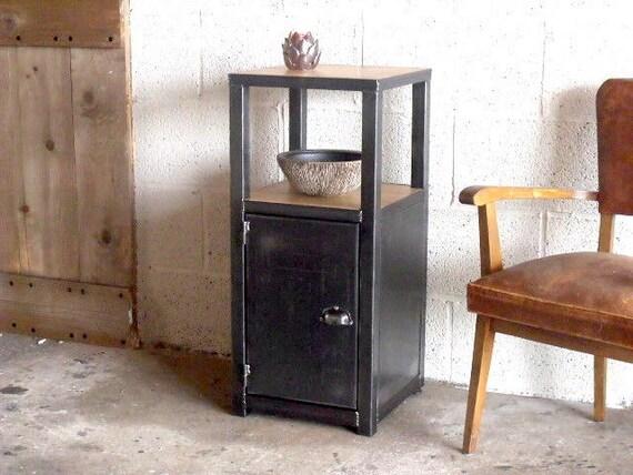 meuble d 39 entr e bois m tal style industriel sur mesure. Black Bedroom Furniture Sets. Home Design Ideas