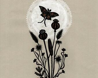 Luna Dancer - ORIGINAL Paper Cutting | Moth Butterfly Art