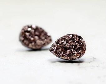 Rose Gold Teardrop Druzy Earrings, 14mm Bronze Metallic Glitter Faux Drusy Glittering Stainless Steel Studs