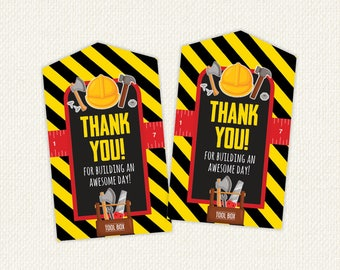 Tools Thank You Tags, Tools Favour Tag, Toolbox Favor, Construction Birthday Party, printable favor tag, Instant Download Thank You tag