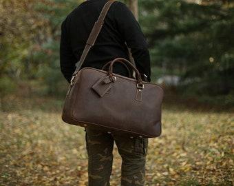 Large Leather Weekender Bag/ Duffel Bag/ Carry-on Bag/ Gym Bag/ Multi-Purpose Bag/ Custom Bag