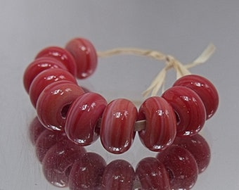 Winter Coral, Lampwork Spacer Beads, SRA, UK