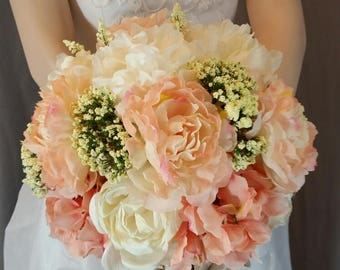 Touch of Peach Bridal Bouquet and Groom Boutonniere