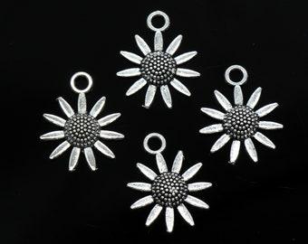 Bulk 50 Pcs Sunflower Sun Flower Charms Pendants Antique Silver Tone 24x20mm - YD0755