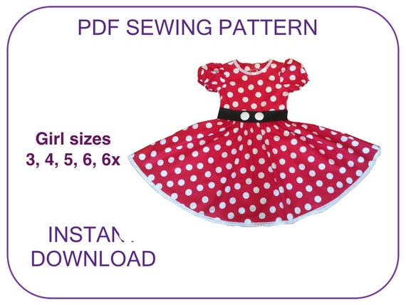 sc 1 st  Etsy & Minnie Mouse costume dress pattern for 3-7 yr. PDF sewing