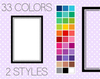 Dotty Rectangle Digital Clipart Frames - Instant Download - Commercial Use