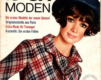 August 1965 - Burda Moden - German sewing magazine with pattern sheets
