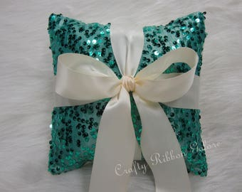 Large Teal Sequins Wedding Ring Bearer Pillow, 8 x 8 Wedding ring pillow, READY TO SHIP