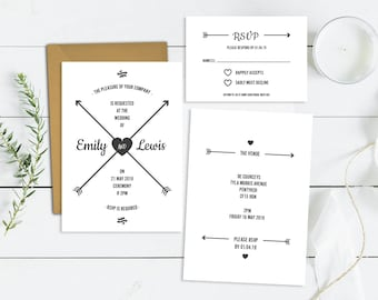 Wedding Invitations Template | Printable Wedding Invites Set