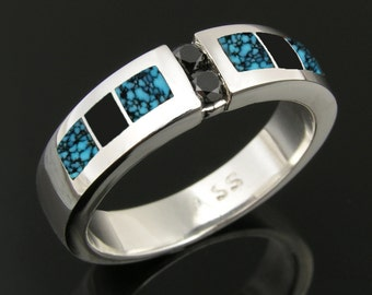 Spiderweb Turquoise, Black Onyx and Black Diamond Ring by Hileman Silver Jewelry