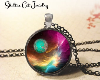 "Nebula with Planet Pendant - 1-1/4"" Round Necklace or Key Ring - Handmade Wearable Photo Art Jewelry - Universe, Galaxy, Space, Science Gift"