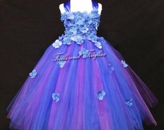 Royal Blue and Plum Flower Girl Dress / Flower Girl Dresses / Bridesmaid Dress / Princess Dress / Formal Dress /Simple Wedding Dress/Wedding