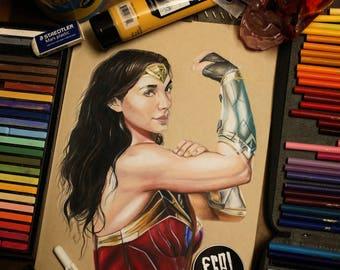 Wonder Woman:- Illustrated Print