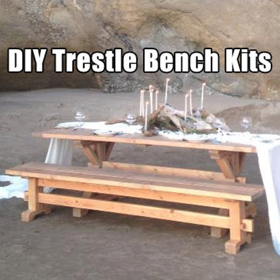 farmhouse trestle bench diy kits. Black Bedroom Furniture Sets. Home Design Ideas