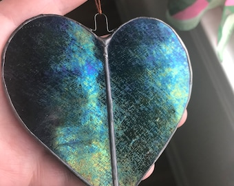 Dark Purple Iridescent Stained Glass Heart