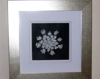 SALE:Queen Annes Lace double matted in 10x10 gold frame