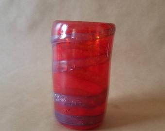 Red Spiral Hand Blown Drinking Glass