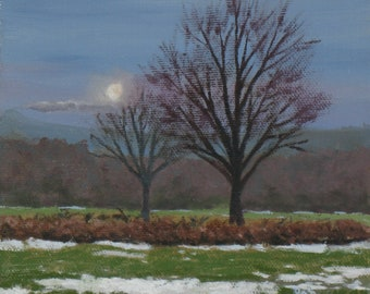 """Landscape painting, moon paintings, end of winter, 6"""" x 6"""" canvas"""