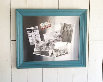 """Up-Cycled Stainless Steel Message Board, Dry Erase Board, Magnet Board """"Shabby Teal Blue & Brushed Stainless Steel"""""""