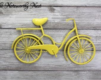 Any Color Bicycle wall art / metal bicycle art / yellow bicycle / cycling wall art / bicycle art // girls bicycle // bike wall art / y