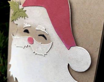 Santa Claus Christmas Card, St. Nick Xmas Card, Handmade Christmas Card, Santa Card, Santa Xmas Card