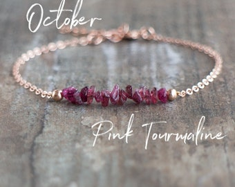 Pink Tourmaline Bracelet, October Birthstone Bracelet, Rubellite Tourmaline Jewelry, Raw Crystal Bracelet, Raw Stone Jewelry, Wife Gift