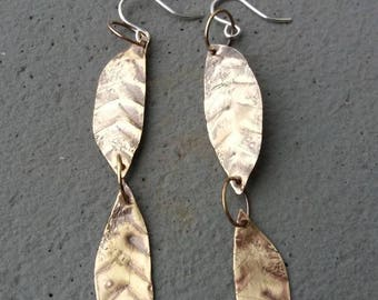 Light As A Feather - Brass and Sterling Lightweight Dangle Earrings