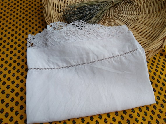 Victorian Baby white linen Flat Sheet French Handmade Lace trim Ladder Work #sophieladydeparis