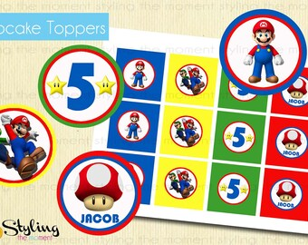 Super Mario Bros Cupcake Toppers AND Wrappers