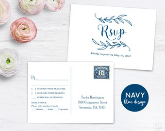 Navy Blue RSVP Postcard Template, Printable Wedding Postcard RSVP Card  Template, 6x4.25