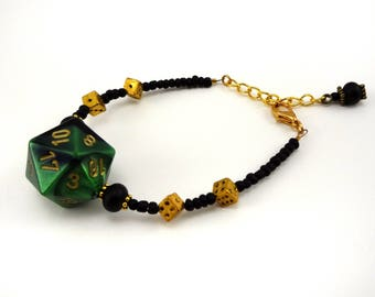 Metallic green, gold, and black D20 beaded dice bracelet
