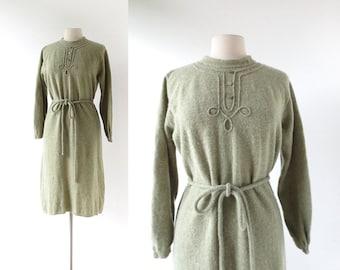 1960s Knit Dress | Reindeer Moss Dress | 60s Dress | XL XXL