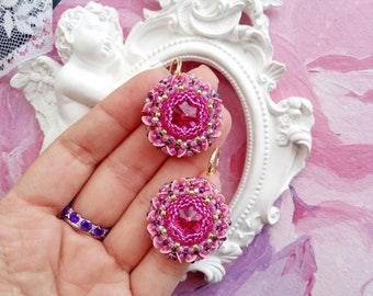 Earrings Swarovski Weaving Beads Pink Fuchsia Flowers