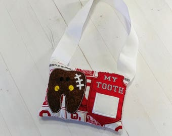 College Football themed Tooth fairy pocket pillow with OU printed fabric