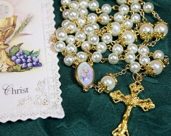 Girl's Catholic Crystal First Communion Rosary with Chalice Prayer Card