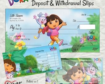 Dora the Explorer   Pretend Checks   Dora Party Printable   Play Money   Learning Money
