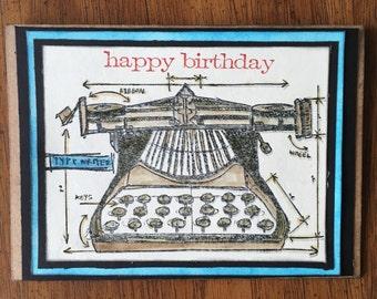 Old Typewriter card - Happy Birthday - Tim Holtz stamps