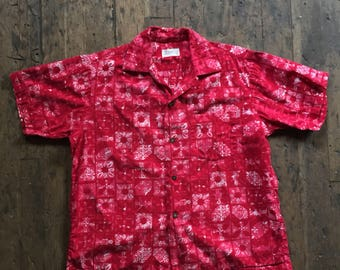 1950s vintage Alfred Shaheen Surf'n Sand Hawaiian Selvedge shirt.