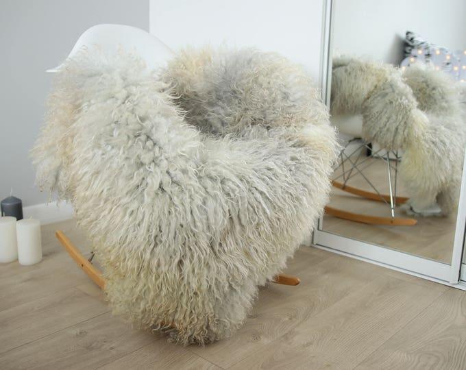 Genuine Rare Gotland Sheepskin Rug - Curly Fur Rug - Natural Sheepskin - Gray Ivory Sheepskin #FEBGOT5