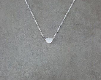 Tiny Heart [SILVER] Plated Choker Necklace Charm Stylish Dainty Pendant Necklace in Gift Box