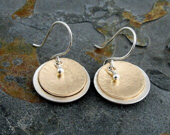 Multi Metal Earrings,Sterling Silver and 14K Gold Filled Textured Dangle Earrings