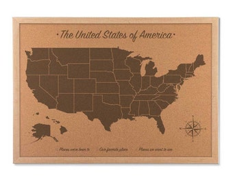 Cork Board Map USA Cork Push Pin Map, United States Wall Art, Personalized Travel Map Planner, wood anniversary gift for him, 5 years